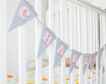 Baby Shower Name Banner - Wood Name Banner - Playful Nursery Decor - Kids Room Decor - Above The Crib Pennant - Customized Personalized
