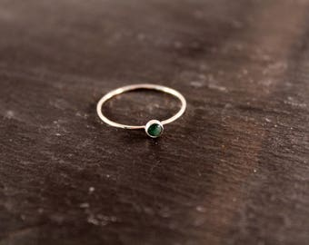 Emerald Gemstone Ring - ONE RING (Rose Gold Sterling Silver May Green Birthstone Gemstone Stacking Ring Gifts Under 50)