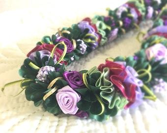 Purple Rose Hawaiian Ribbon Lei Wedding Graduation Christmas gift Present