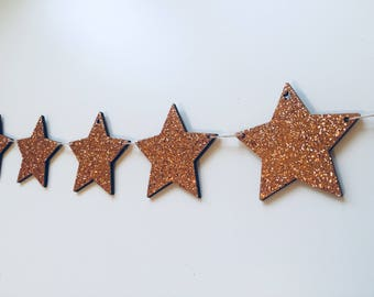 Wooden Glitter Star Garland/Decoration - Copper