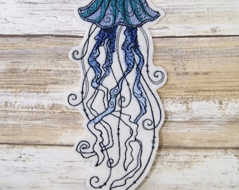 Deep Blue Jellyfish Iron On Embroidery Patch MTCoffinz - Choose Size
