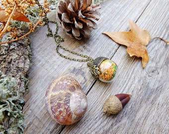 terrarium necklace, gift for woman, acorn necklace, real flower necklace, forest necklace, inspirational, dainty necklace, botanical jewelry