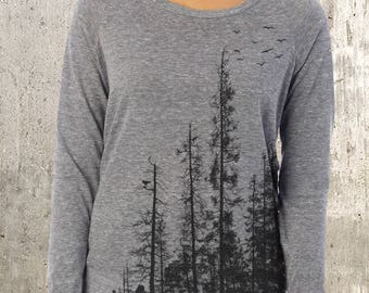 Women's Pullover Sweater - Pine Tree Forest - Alternative Apparel Slouchy Eco Pullover Sweater-  Organic & Recycled Materials