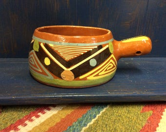 Mexican Pottery Vintage Pot With Handle