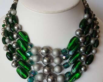 Vintage green glass Japanese made 5 strand necklace, grey faux pearls, green foiled glass beads, choker