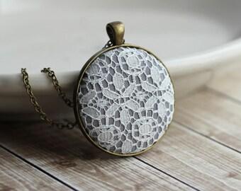 Art Nouveau Wedding Lace Necklace, Bridal Shower Favors, Unique Bridesmaid Gift, Gray, White, Gold