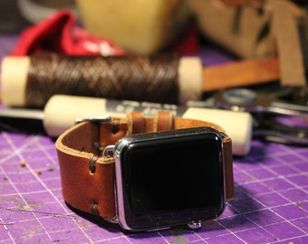 Tan Leather Apple Watch Band