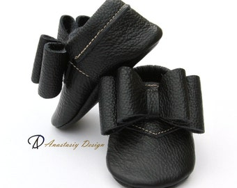Black Baby Girl Moccasins, Double Bow Baby Girl Moccasins, Toddler Moccasins, Baby Girl Shoes, Baby Moccs, Crib Shoes