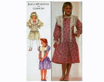 Gunne Sax Dress by Jessica McClintock 80s Sewing Pattern Size 14 girls Country Prairie Dress Gothic Simplicity 8961