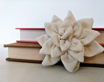 Brooch with White Fabric Flower