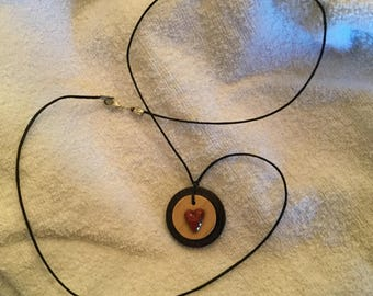 Real redheart wood heart pendant with dual maple and wengewood bases necklace