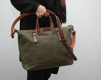 waxed canvas bag/tote bag/ with leather handles and closures,khaki color