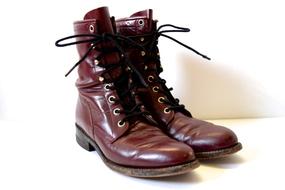 Vintage 80s Eggplant Leather Lace Up Justin Boots (size 5.5)