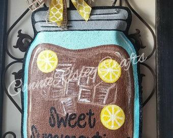 Sweet Summertime Tea Mason Jar Burlap Door Hanger