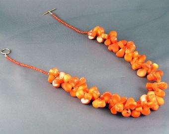 "Orange Coral Teardops Set - ""Cheria"""
