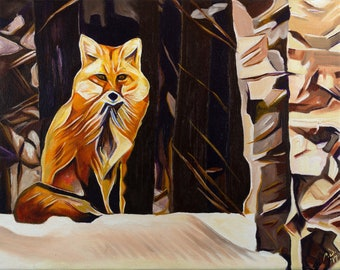 Fox Sitting in Birch Trees – Original Framed Oil on Canvas Painting – 11in x 14in x 1 3/8in – Animal Painting Wildlife Wall Decor – Foxy Fox