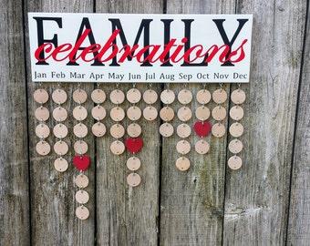 Family Birthday Board, Family Calendar, Family Celebrations Board, Family Birthday Sign, Birthday Reminder, Calendar Sign