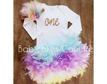 Unicorn 1st Birthday Outfit, Unicorn Cake Smash Outfit, Unicorn Headband, Unicorn Birthday Girl, Unicorn Feather Bloomer, Unicorn Baby Girl