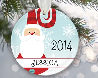 Santa Claus Christmas Ornament Personalized Christmas Ornament Name & Date Gift for her or him 2014 Holiday Ornament Christmas Gift OR109