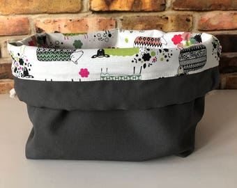Whimsical Wool Ewe Sheep Carhartt Charcoal Grey Knit & Crochet Project Bag Canvas Cotton Leather Finger Loop Strap Drawstring Tote Bucket