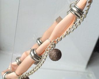 Pretty Ribbon and Chain Bracelet