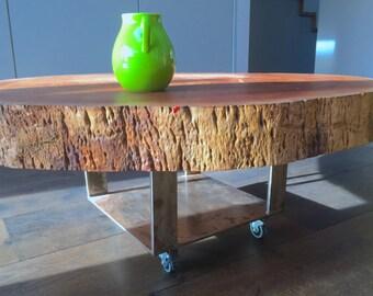 Tree slab coffee table-Nature indoors
