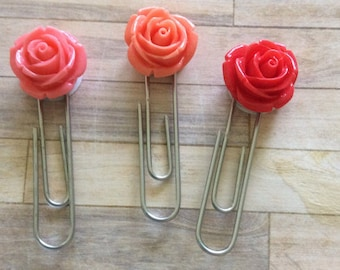 Coral Flower Paperclips // Planner accessories for any planner
