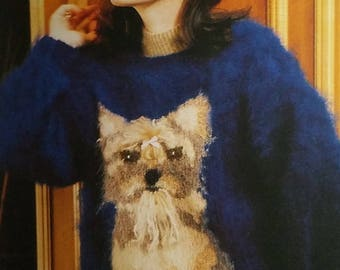 Vintage Hand Knitted Yorkshire Terrior Sweater in Long Haired Mohair by Ann Arundell