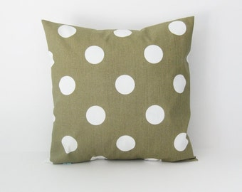 Khaki Pillow Cover Green Pillow Polka Dot Pillow cushion cover 8 Sizes Available