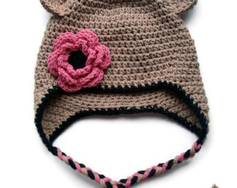 Baby Hat, Baby Girl Crochet hat, Girls Crochet Hat, Toddler Winter Hat, Baby Hat with Ties, Earflap Hat, Flower Hat, MADE TO ORDER