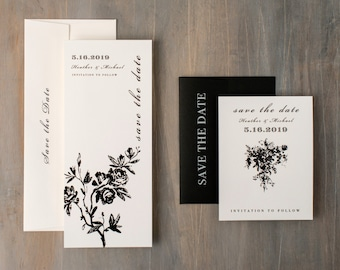 "Modern Save the Dates, Wedding Save the Date Cards, Modern Black and White Save the Dates - ""All Black"" Save the Dates"