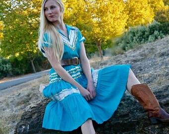 20% OFF SALE 1950's Vintage Mexican Dress, Turquoise Dress, Southwest Dress, Square Dance Dress