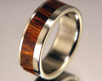 Desert Ironwood Wood Wide Offset Inlay Titanium Wood Wedding Band or Ring