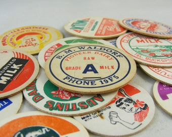 Vintage Milk Caps - Limited Sets of 18 -  Rare - Cardboard - 1940's to 1960's