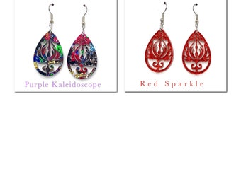 Drop Pattern Laser Cut Earrings,Jewellery,Womens Fashion,Dangle Drop Earrings,Acrylic