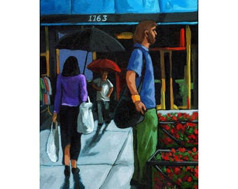 SALE! Rainy Day  Shopping @ the Garden Store figurative oil painting