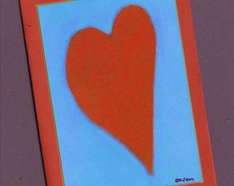 Heart Art Blank Note Card Greeting Valentine I Love You Thinking Of You