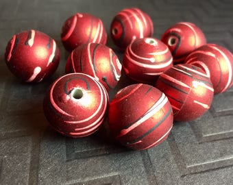 20mm Round Acrylic Beads with Rubberized Coating in Red with Black and White Splatter Stripes ...10 ct.