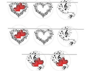 12mm, 8 cabochons music, hearts, treble clef, notes