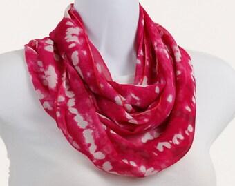 Hot Pink Tye Dye Infinity Scarf, Soft and Sheer flowing Crepe ~ SH151-L5