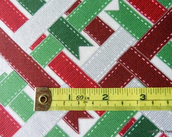 "One Half Yard Cut Quilt Fabric, Christmas ""Ribbon Wrap"", Red/Green/Silver Metallic Ribbons, RJR Studio, Sewing-Quilting-Craft Supplies"