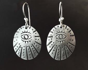 All Seeing Eye Earrings in Sterling Silver, third eye, evil eye