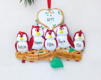 5 Red Birds Ornament / Personalized Ornament / Family of Five Red Birds on a Branch / Family Ornament / Christmas Ornament