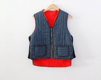 vintage puff vest,  men's camp vest,  fishing vest