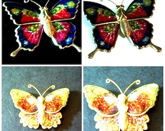 TWO Vintage  Butterfly Brooches