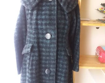 Vtg Bartalana Italian 3/4 Length Coat 3 Big Buttons Houndstooth Black Blue 60s 70s 80s Womens Wool Heavy Big Ruched Pleated Collar Size M