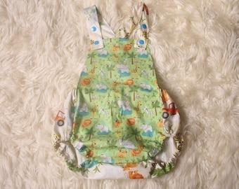 Baby Boy Romper,Safari print,Photography Prop,Cotton,Adjustable shoulder straps,Cake Smash Photoshoot,Hand Made in the UK,I ship worldwide,