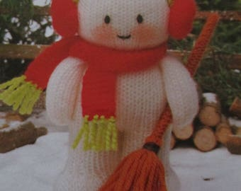 Handmade Knitted Snowman With Broom, Christmas Decoration,  (New, Made To Order) 3+