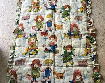 Vintage Handmade Quilted Baby Blanket Ruffled
