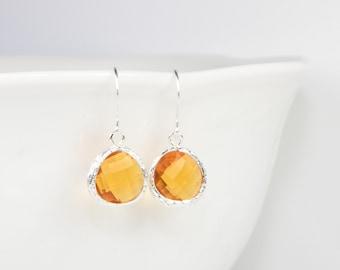 November Birthstone Topaz Silver Earrings, Topaz Silver Dangle Earrings, Silver Earrings, November Birthstone Earrings, Bridesmaid Earrings
